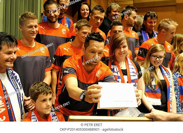 FC Viktoria Pilsen players together with fans and Pilsen Philharmonic record a new club anthem on May 30, 2014, Plzen Czech Republic