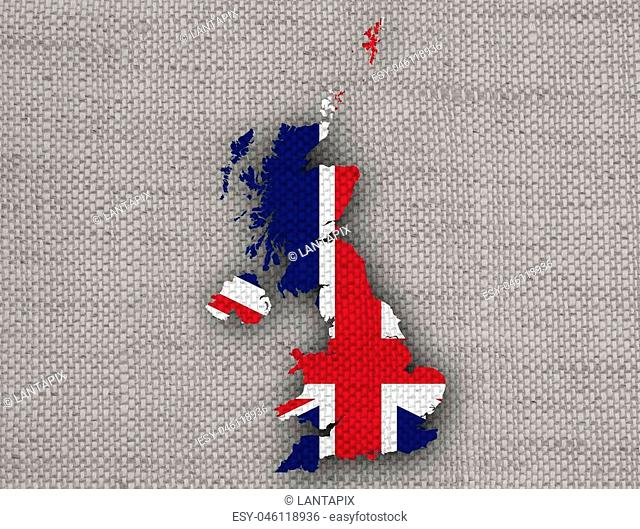 Map and flag of Great Britain on linen