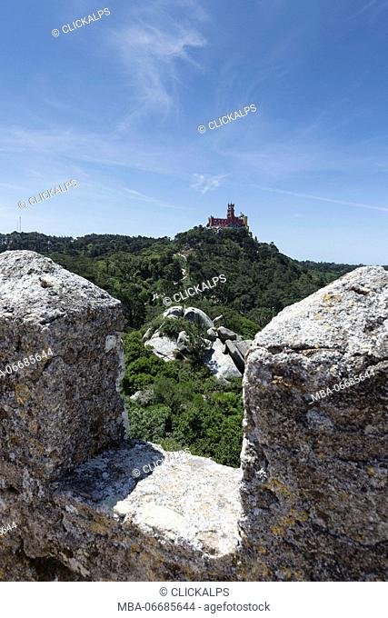 The fortified and medieval stone walls of the ancient Castelo dos Mouros Sintra municipality Lisbon district Portugal Europe