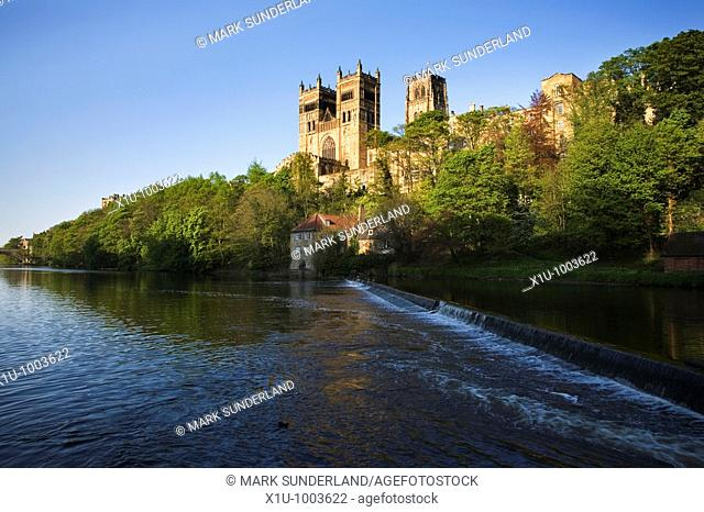 Durham Catherdral at Sunset in Spring from the Banks of the River Wear, Durham, England