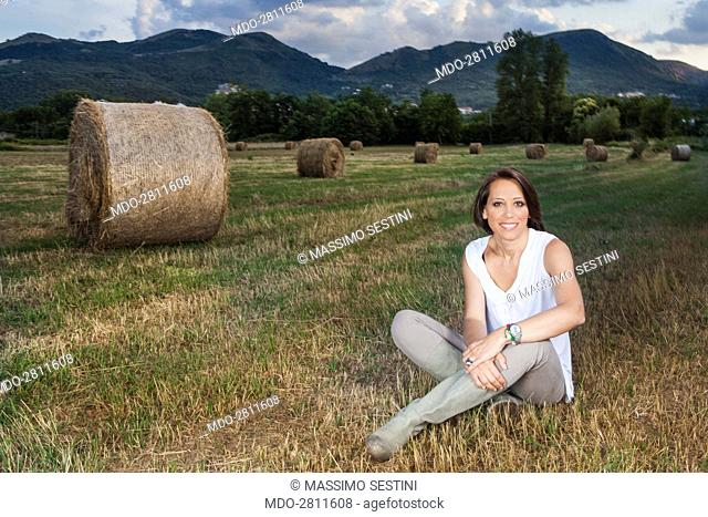 Minister of agricultural, food and forestry policies Nunzia De Girolamo posing for a photo shooting at Masseria Abate, an organic dairy farm built on lands...
