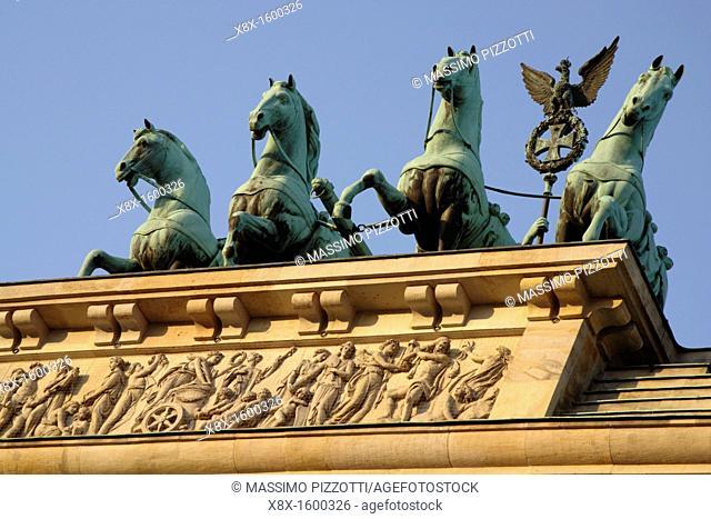 The Quadriga on the top of the Brandenburg Gate, Berlin, Germany