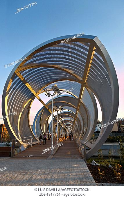 Arganzuela Bridge by Dominique Perrault, Madrid, Spain
