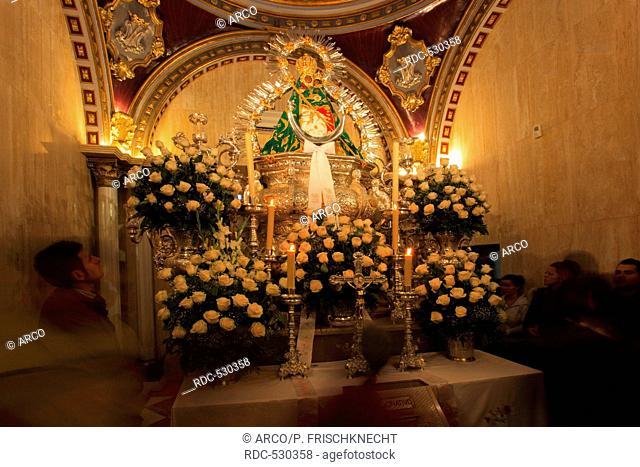 Black Madonna, Black Virgin, pilgrimage church, Santuario Virgen de la Cabeza, Andujar, province Jaon, Andalucia, Spain