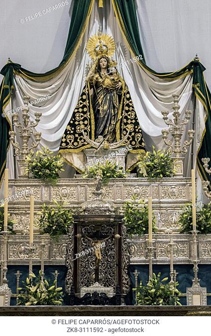 Vejer de la Frontera, Spain - August 13, 2018: Virgen de la Oliva, Patroness of Vejer de la frontera, work of Martin Alonso de Mesa y Villavicienso, Cadiz
