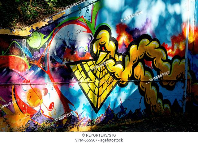 Belgium, Brussels, Oct 5, Street designs, Drawings, Street art, Tram stop at Laeken, De Wand, STIB Reporters / STG