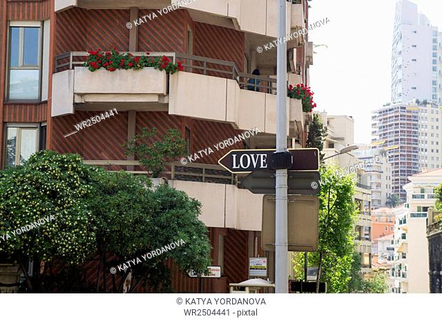 Love sign, street, Monaco