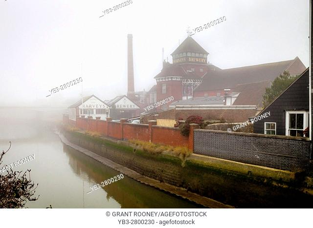Harveys Brewery and The River Ouse On A Foggy Day, Lewes, Sussex, UK