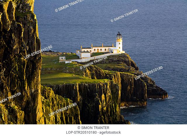 Scotland, Highland, Neist Point. Dramatic Coastline at Neist Point or An t-Aigeach near Waterstein, the most westerly point on the Isle of Skye
