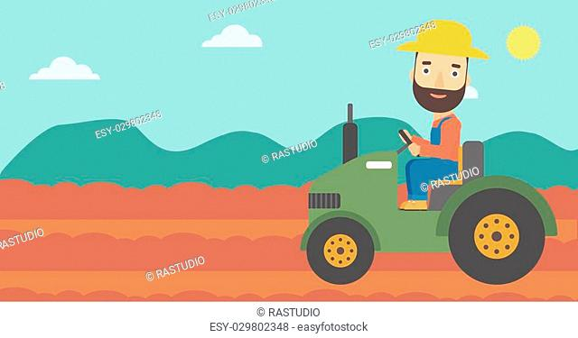A hipster man with the beard driving a tractor on the background of plowed agricultural field vector flat design illustration. Horizontal layout