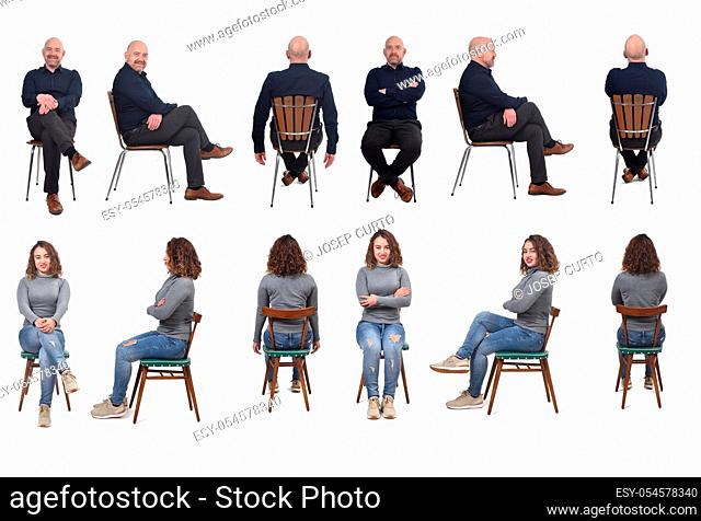 collage of a couple sitting on a chair in white background, front, profile and back view