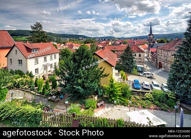 View of Kronach, Christ Church, steeple, roofs, architecture, autumn, Kronach, Franconia, Bavaria, Germany