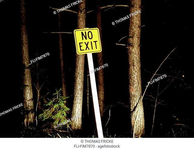 No Exit sign at night