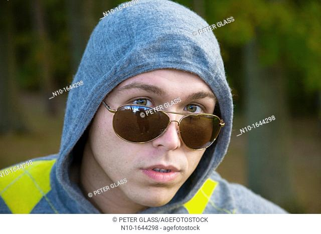 Young man in a park