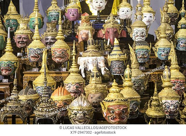 Display of thai Khon Masks, Exhibition Throne Hal, l National Museum, Bangkok, Thailand