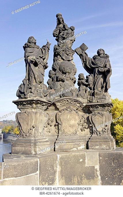 Statues, Madonna with the Saints Dominic and Thomas Aquinas, Charles Bridge, Prague, Czech Republic