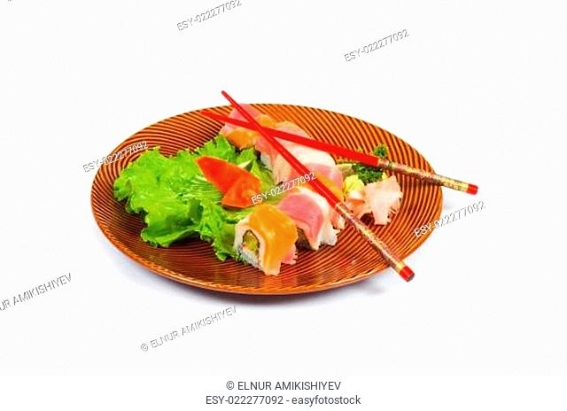 Sushi plate isolated on the white background