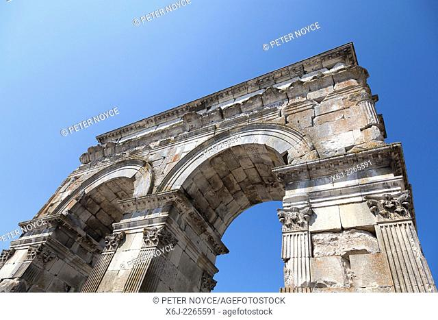 Looking up at the Arch of Germanicus in Saintes France