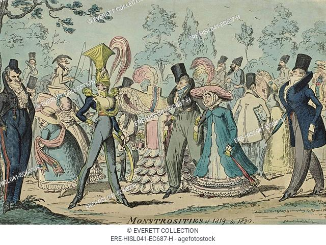 Monstrosities of 1819 & 1820, by George Cruikshank, George Humphrey, 1819, English print. Caricature of fashion trends (BSLOC-2016-2-120)