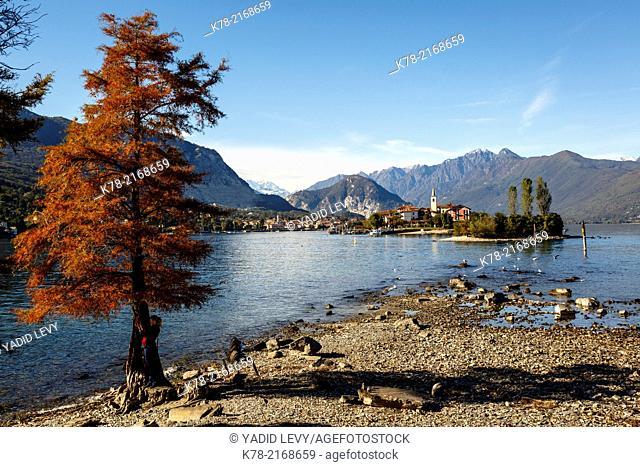 View over Isola Superiore aka Isola dei Pescatori from Isola Bella, Borromean Islands, Lake Maggiore, Piedmont, Italy