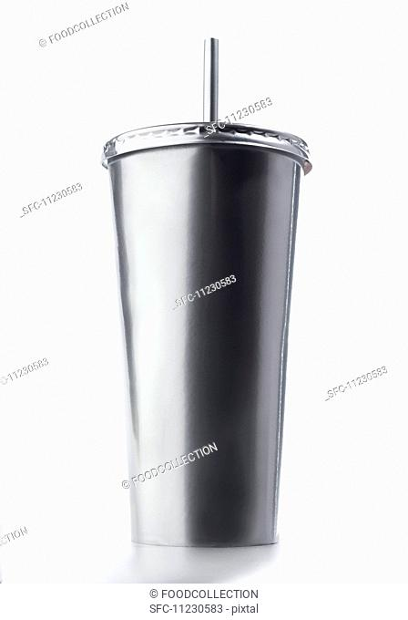 A silver cup for milkshakes
