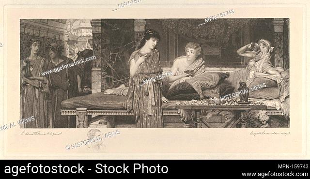 The First Course-The Dinner. Artist: After Sir Lawrence Alma-Tadema (British (born The Netherlands), Dronrijp 1836-1912 Wiesbaden); Etcher: Leopold Löwenstam...