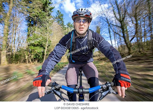 Wales, Monmouthshire, Monmouth. Male mountain biker