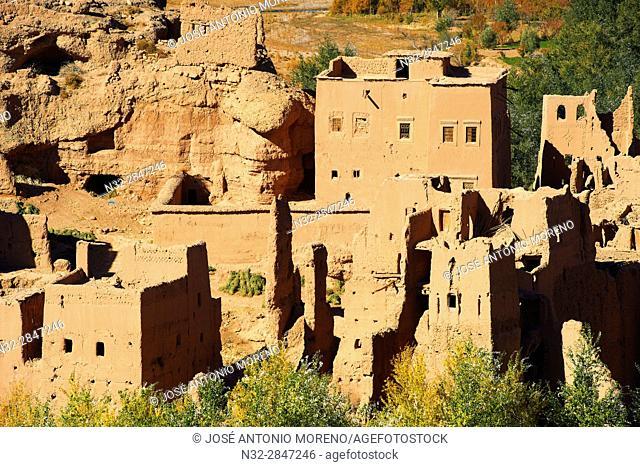 Old Kasbah, Itran, El Kelaa M'Gouna, Vallée des Roses, Rose Valley, Sous-Massa-Draa, High Atlas, Morocco, Africa,