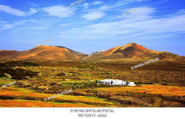 Volcanic landscape, La Geria, Island Lanzarote, Canary Islands, Spain