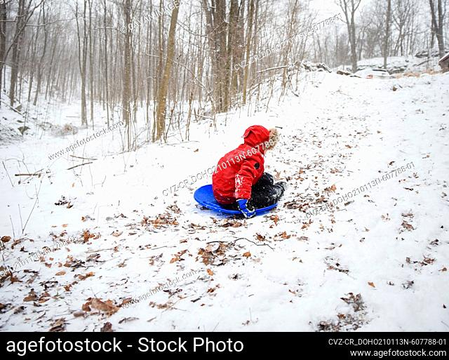 Boy in red coat sledding down hill in the woods on a snowy winter day