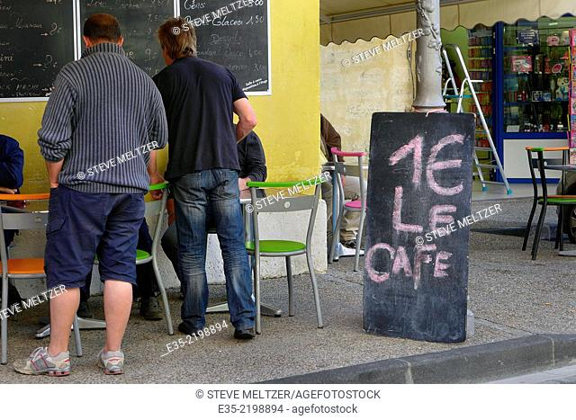 A cafe offers a cup of coffee for one Euro