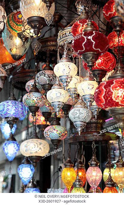 Colorful Hanging Turkish Ceramic Lamps Sourvenirs in Istanbul, Turkey