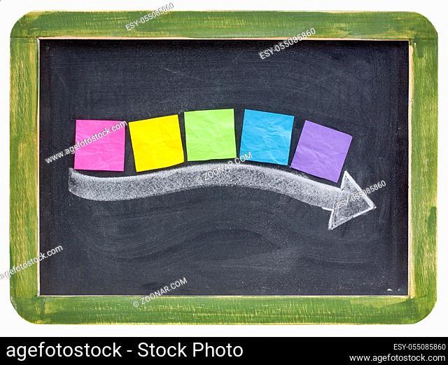 timeline concept - blank colorful sticky notes along thick white chalk arrow on a vintage blackboard
