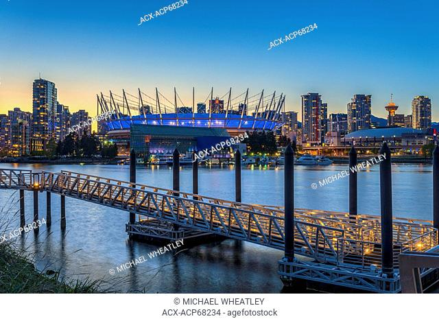 BC Place Stadium and passenger ferry ramp, False Creek, Vancouver, British Columbia, Canada