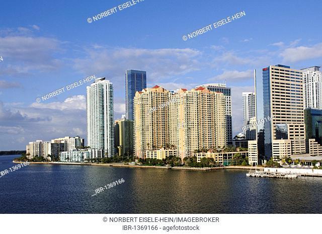 Brickell Key Drive, Downtown Miami, Florida, USA