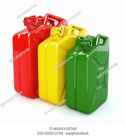 Three Jerrycan. Fuel can on white background. 3d
