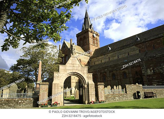 12th century Romanesque Saint Magnus cathedral in Kirkwall, Orkney, Scotland, Highlands, United Kingdom