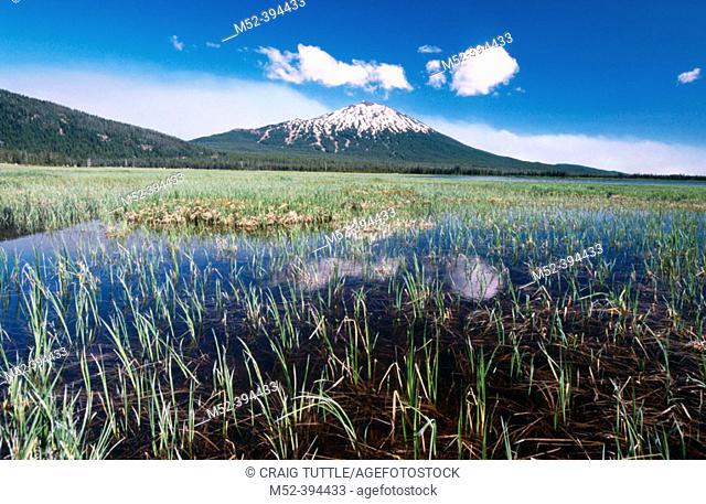 Mt. Bachelor and Sparks Lake, Oregon Cascades. USA