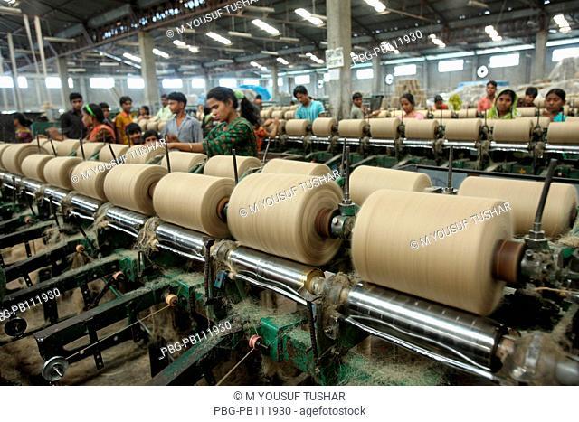 jute spool making in ajute mill Munshigonj, Bangladesh April 06, 2011