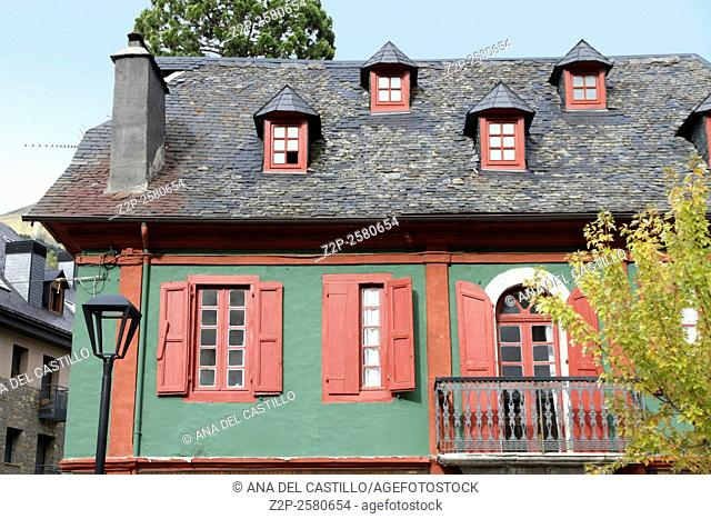 Viella village Aran valley, Lleida Catalonia Spain House in red and green