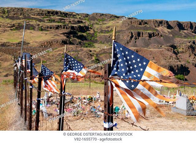 American flag at Indian cemetery, Columbia Hills State Park, Columbia River Gorge National Scenic Area, Washington