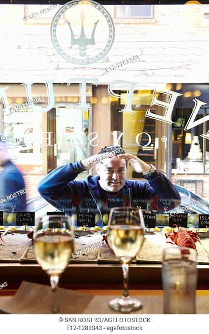 Jeffrey Nace owner of Neptune Oyster seafood restaurant, Boston, Massachusetts, USA
