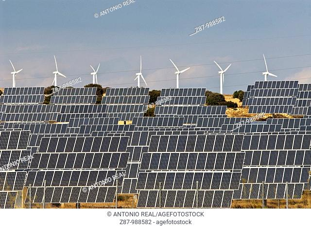 Solar panels and wind turbines, Bonete. Albacete province, Castilla-La Mancha, Spain