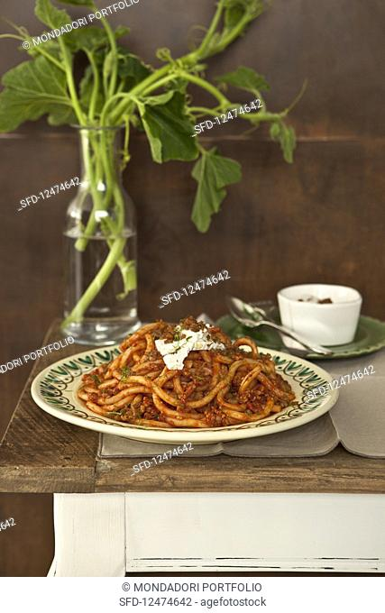 Filei pasta with a spicy meat sauce and ricotta