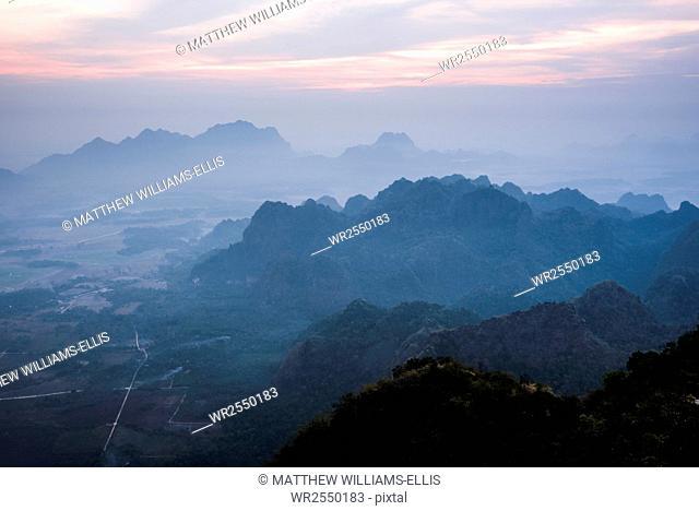 View from Mount Zwegabin at sunrise, Hpa An, Kayin State (Karen State), Myanmar (Burma), Asia