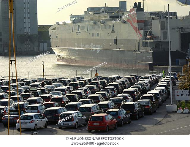 Cars waiting for loading on the ferry boat Leonora Christina in the port of Ystad, Sweden