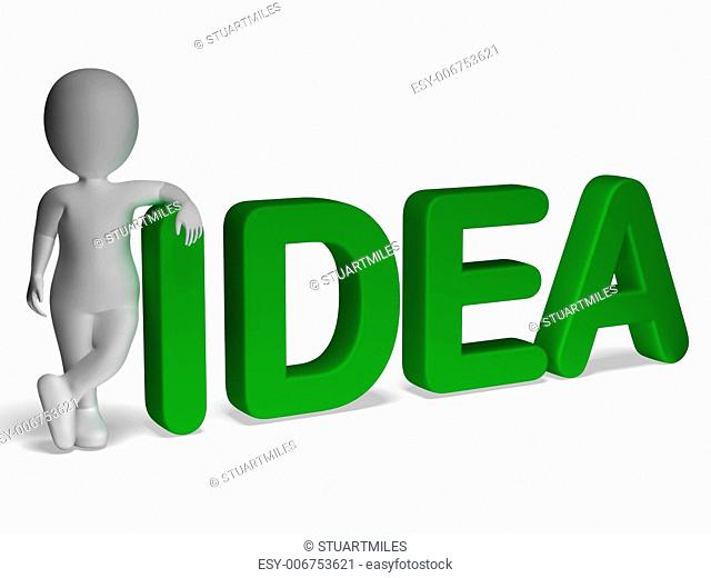 Idea Word And 3d man Shows Thoughts And Invention