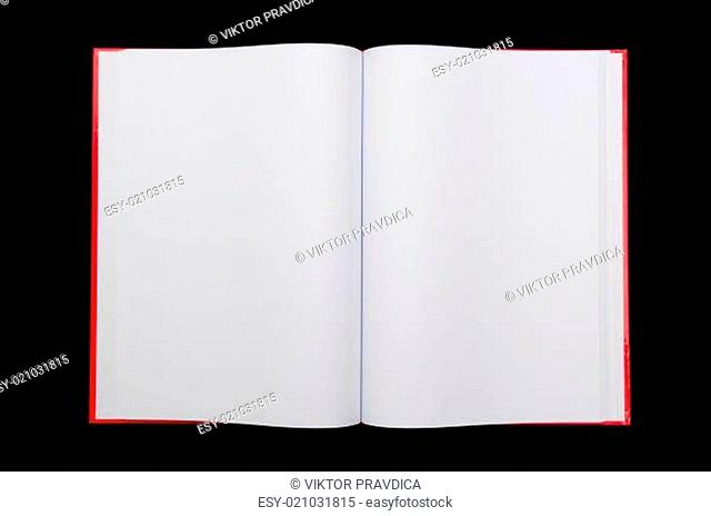Open notepad on black background