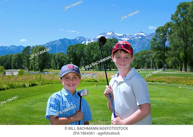 Jackson Hole Wyoming at Jackson Hole Golf Course with two young boys portrait