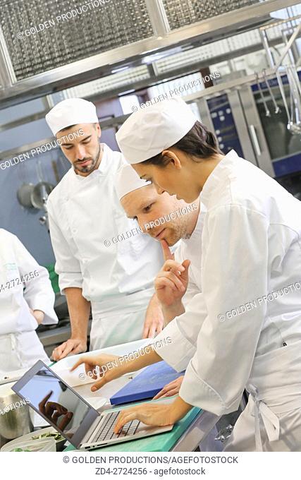 Chefs using computer in restaurant kitchen